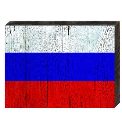 "aMonogramArtUnlimited Flag of Russia Rustic Wooden Wall Decor Size: 12"" H x 18"" W x 1.5"" D"
