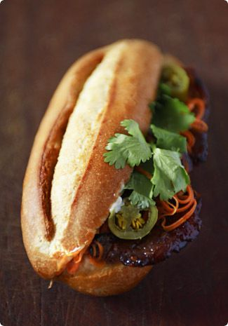 Vietnamese barbecued pork sandwiches