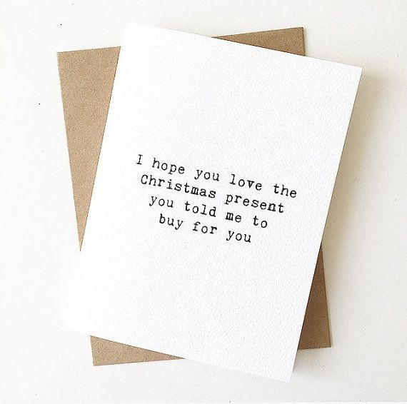 Lustige Weihnachtskarte / Frau zu Mann Xmas Karte / Ehemann, Frau Xmas Karte/Weihnachten Karten für Freunde/Bf auf Gf Xmas Card / Gf bf Xmas Karte
