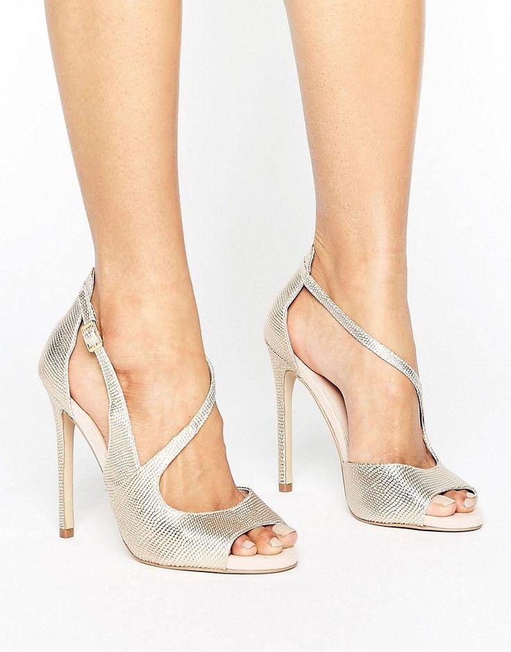 Carvela Geep Metallic Asymetric Strap Heeled Sandals - Gold