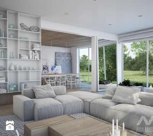 Projekt domu w Józefowie - Duży salon z jadalnią, styl minimalistyczny - zdjęcie od Ania Masłowska