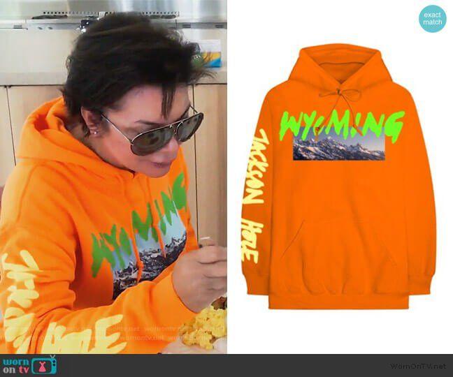 Kris S Orange Wyoming Print Hoodie On Keeping Up With The Kardashians Hoodie Print Keeping Up With The Kardashians Kardashian