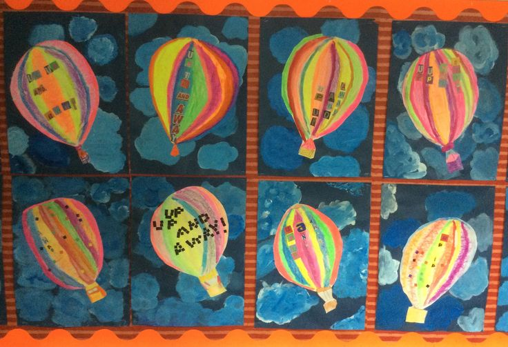 Year 3 neon coloured hot air balloons