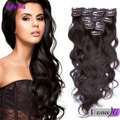 Brazilian Body Wave Clip In Human Hair Extension Full Head Clip In Human Hair Extensions Clips In 2# 4# 6# color