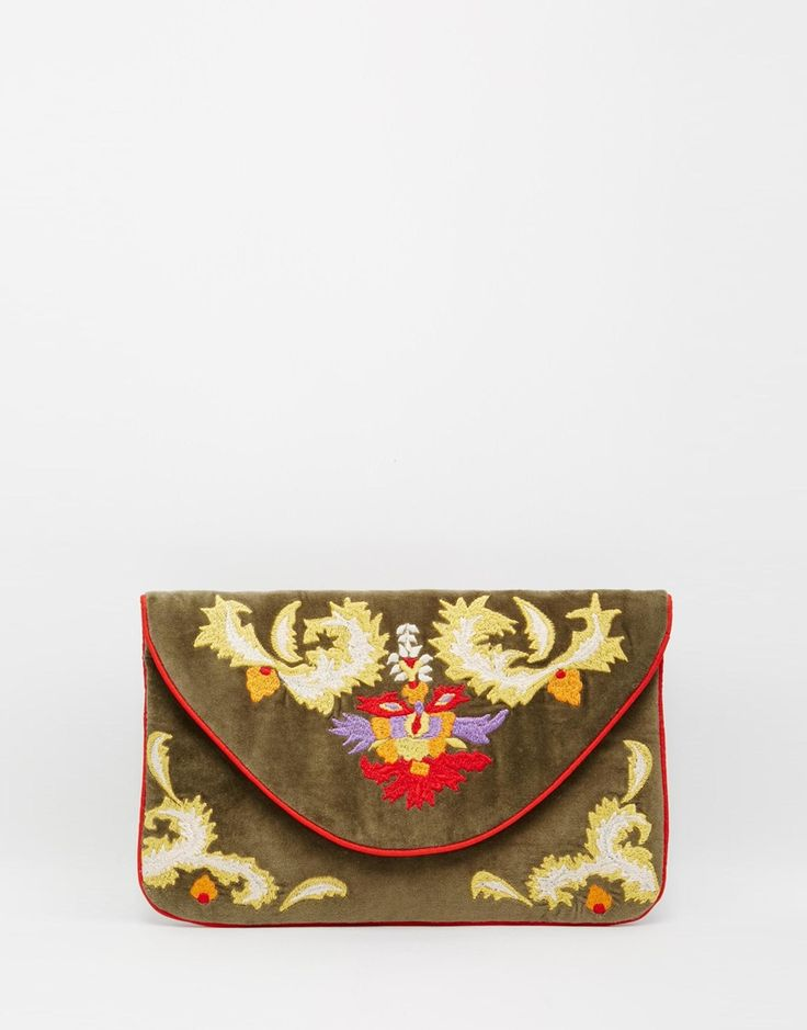 Image 1 of Moyna Velvet Envelope Clutch in Olive with Embroidery Detail