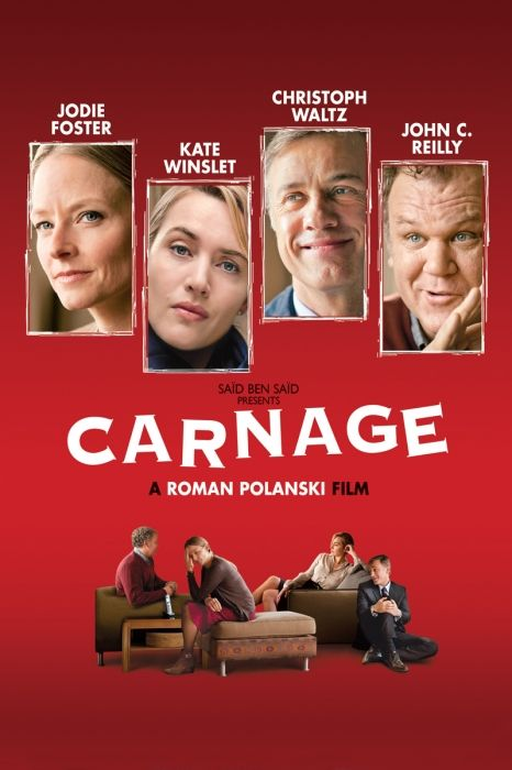 Carnage Movie Poster - Kate Winslet, Jodie Foster, Christoph Waltz  #Carnage, #MoviePoster, #Comedy, #RomanPolanski, #ChristophWaltz, #JodieFoster, #KateWinslet