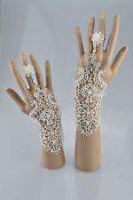 Vintage Crystal Lace Crochet Bridal Wrist fingerless Gloves using Swarovski
