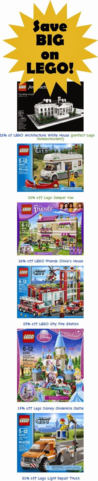 WOW! Lego's on Sale! The Lego white house, Lego Disney Princess Castle, and Lego Firestation have been on our wish list forever! #lego #homeschool #deals #toys