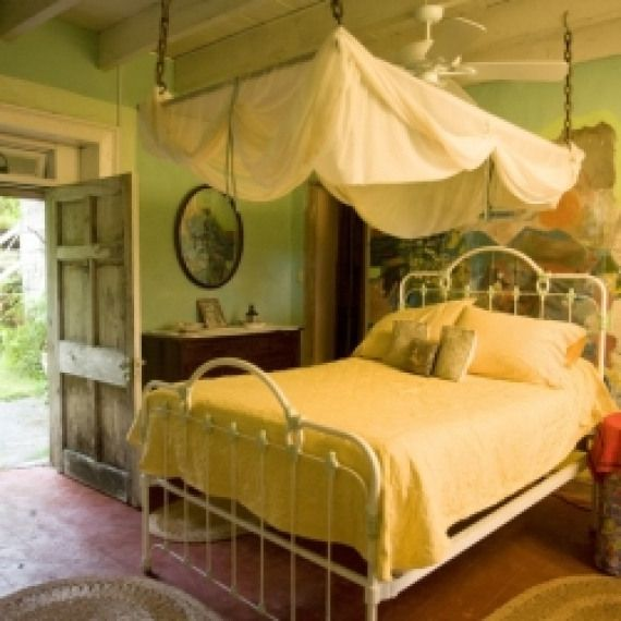 Itopia Wrought Iron Bed Peeling Paint And Views Of The Lush Garden In This Jamaican Villa Bedroom Bedrooms Wrought Iron Beds Iron Bed Wrought