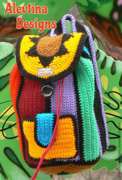crochet kids children backpack