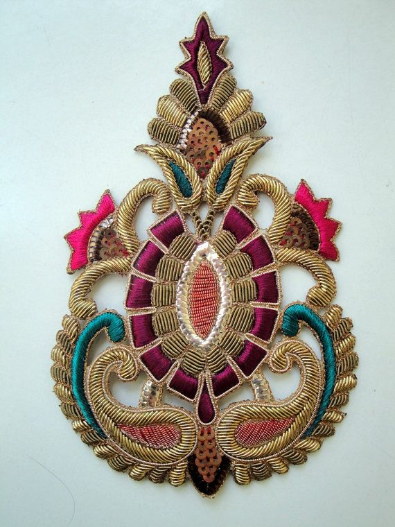 Incredibly beautiful hand embroidered motif for embellishment of clothing, costumes, decor, accessories. Made with gold bullion and silk on...