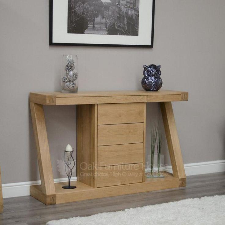 Z Solid Oak Furniture Wide Drawer Console Table #OakFurniture