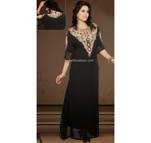 Black Faux Georgette Embroidered #Kaftan