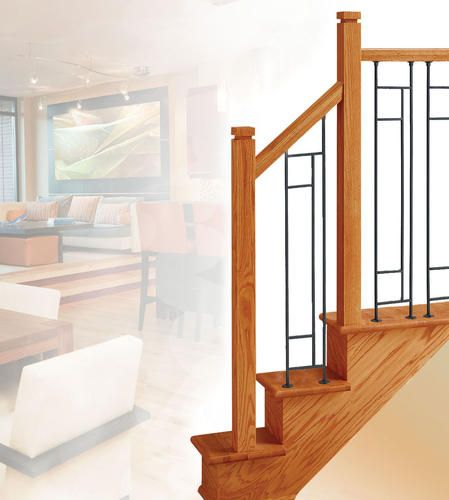 Colonial Elegance® Mission Style Golden Oak Prefinished 12 Step Staircase