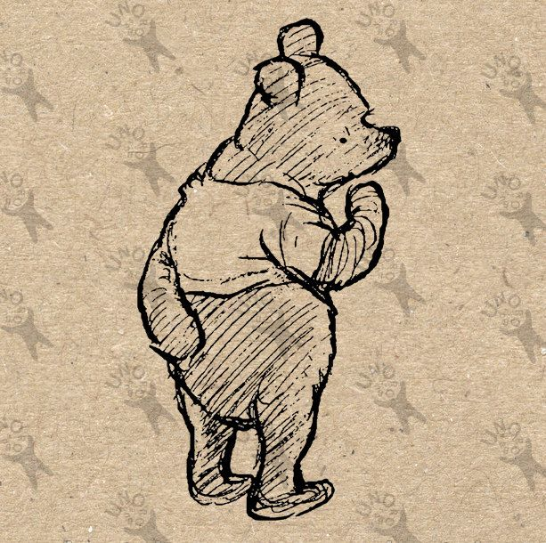 Vintage Winnie-the-Pooh Instant Download Digital printable clipart black and white graphic collage scrapbooking burlap art print HQ 300dpi by UnoPrint on Etsy