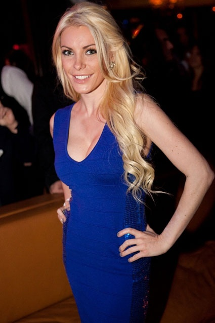 Hugh Hefner's ex-girlfriend Crystal Harris also visited Hyde Bellagio on February 4. The model shared a table with Kevin Dillon at a post-UFC 143 soiree.: Hair