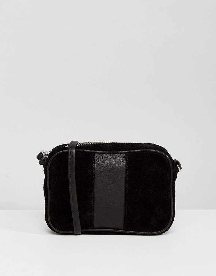 81ad897ccb3a6 ASOS Leather and Suede Paneled Cross Body Bag.Black Crossbody bag perfect  for every style.Women fashion. Black handbags. Handbags