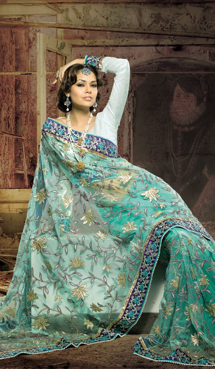 Aqua Blue Faux Georgette Designer Saree