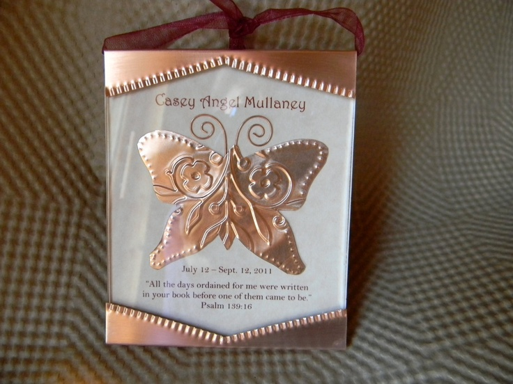 copper butterfly memorial ornament