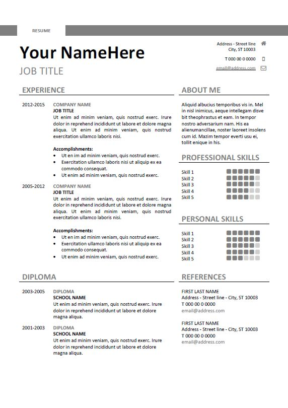 simple resume template templates word free download pdf sample curriculum vitae