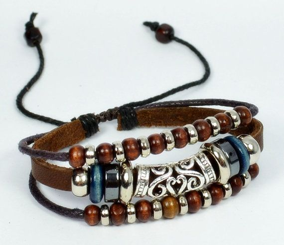 Leather bracelet,mens and womens brown leather bead charm bracelet with wooden beads (B09-2)