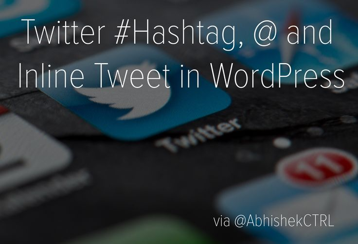 We can integrate Twitter Hashtag, @ and Inline Tweet in WordPress in several ways. It matters how you want to use the features in your blog.