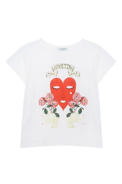 Хлопковая футболка Procione Vivetta - Белая хлопковая футболка с оригинальным принтом в интернет-магазине модной дизайнерской и брендовой одежды