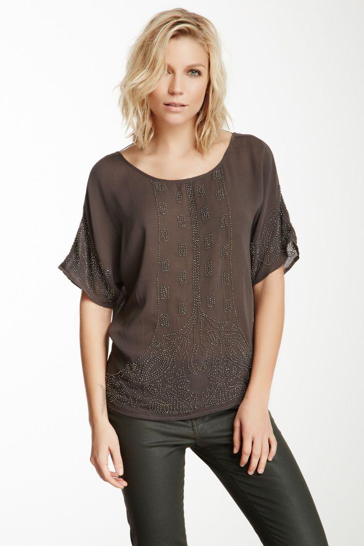 Beaded Short Sleeve Blouse
