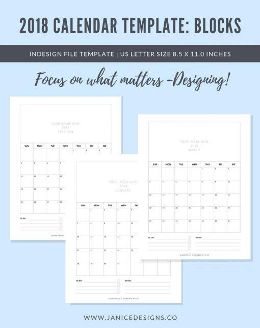 2018 Calendar Template Blocks Calendar Template 2018 Calendar