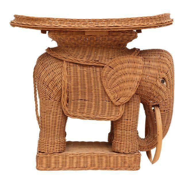 Image Of Vintage Rattan Wicker Elephant Side Table
