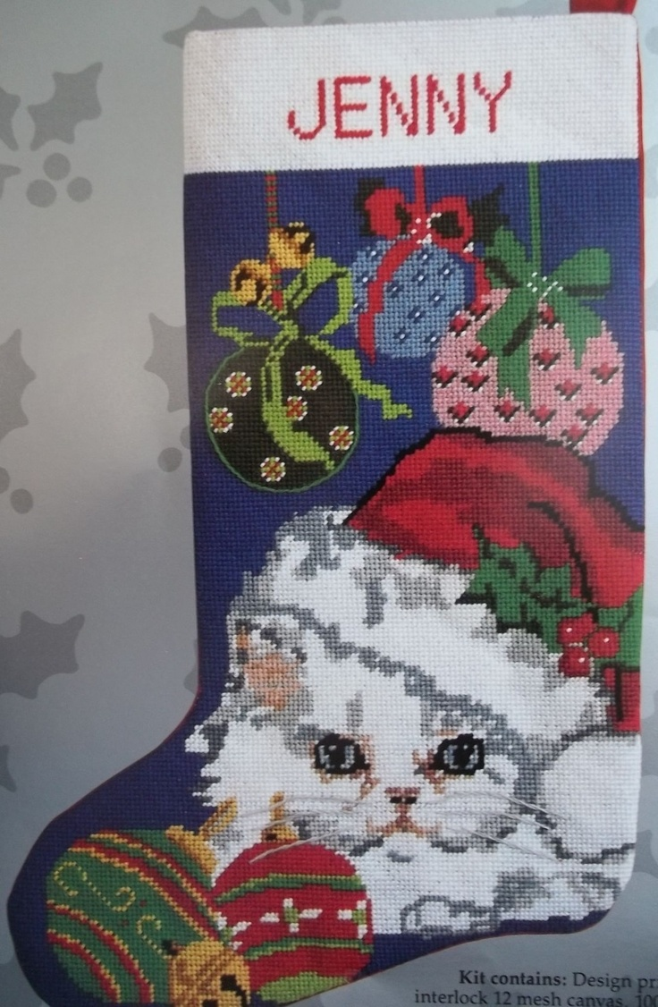 Cat in the hat ornaments - Cat W Santa Hat And Ornaments Needlepoint Stocking Kit 12 Mesh Personalize It Ebay