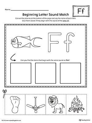 Letter F Beginning Sound Picture Match Worksheet   Shape ...