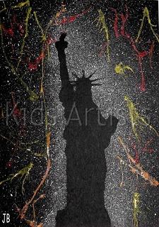 Happy New Year Fireworks art found on Kid Artist Blog.