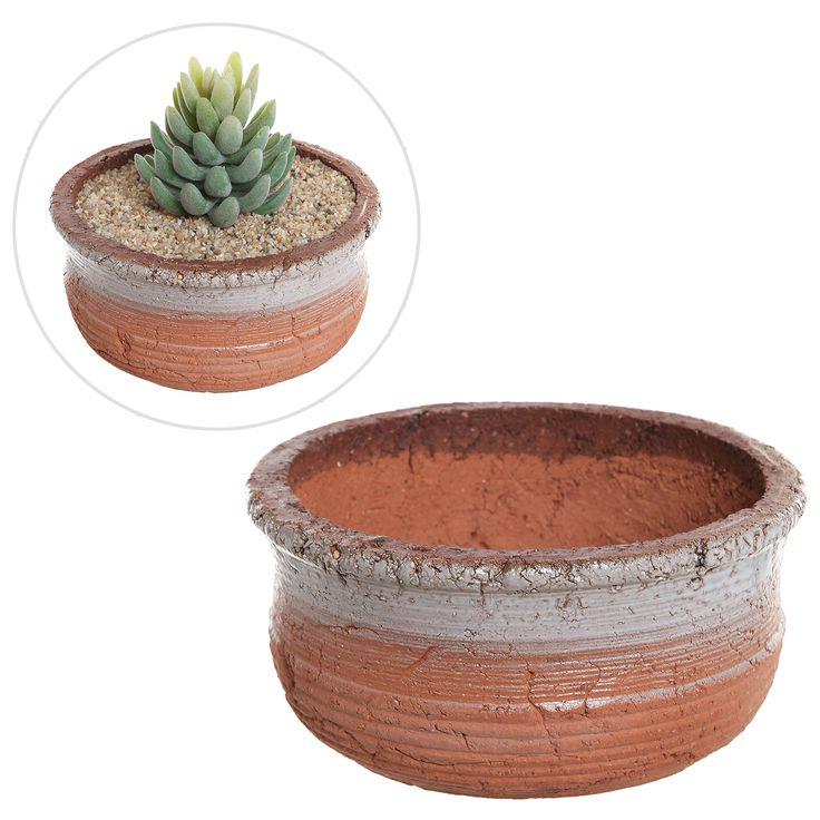 Amazon.com : Rustic Southwestern Style Ceramic Succulent Plant Pot / Decorative Flower Planter, Brown - MyGift® : Patio, Lawn & Garden