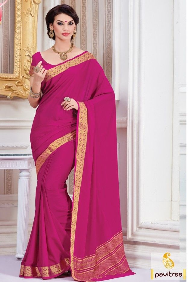 Create Your Festival Occasion More Cheerful With Dark Pink Color Wedding Saree Online In Uk And
