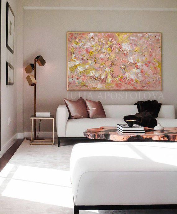 Rose Gold Wall Art Original Abstract Painting Coral Art Elegant