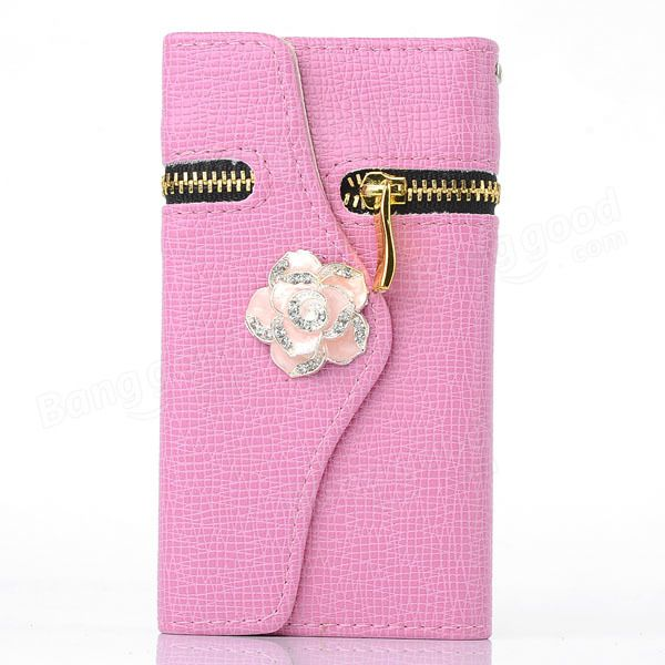 Zipper Flower PU Leather Case For Samsung Galaxy Note 2 N7100…