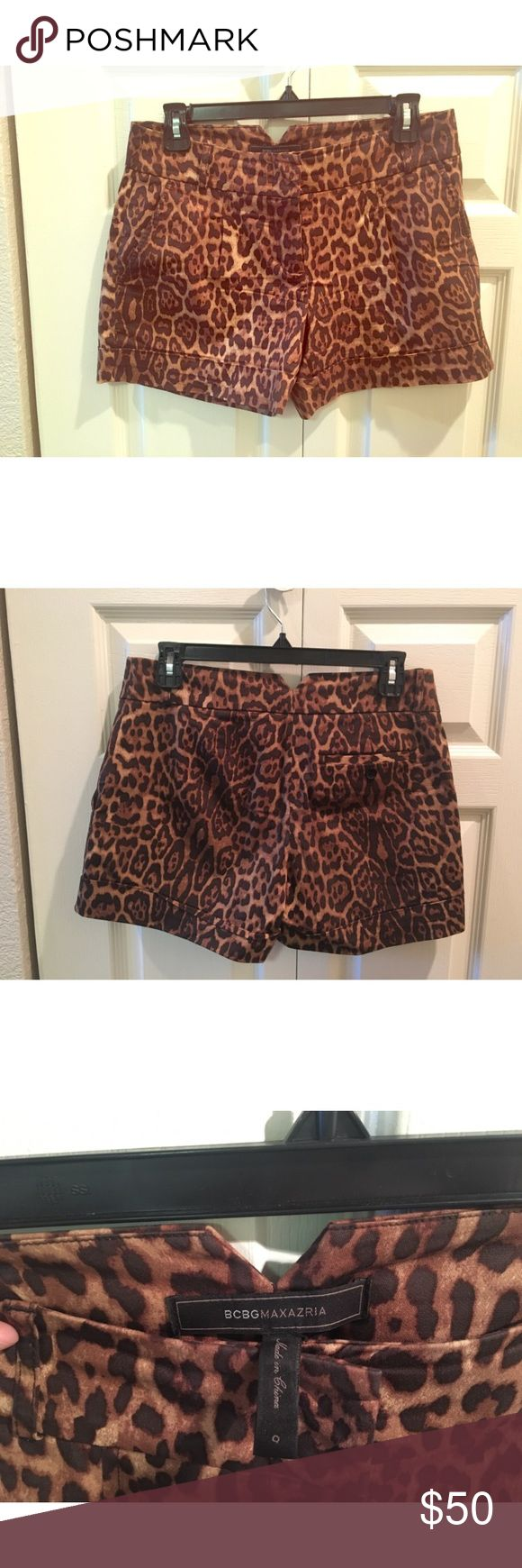 BCBG Leopard Shorts Super cute BCBG Leopard print shorts, mid rise, a bit longer in the leg, very flattering. Wide waistband with belt loops, cuffed hem, also has pockets! Great used condition, a bit wrinkled but can easily be steamed/ironed out! BCBG Shorts