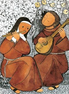 Caixa de Figuras: Francisco e Clara de Assis tocando música