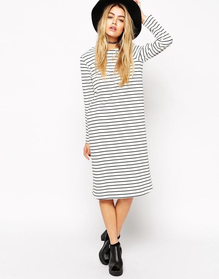 ASOS Reclaimed Vintage Shift Dress with Long Sleeve in Breton Stripe