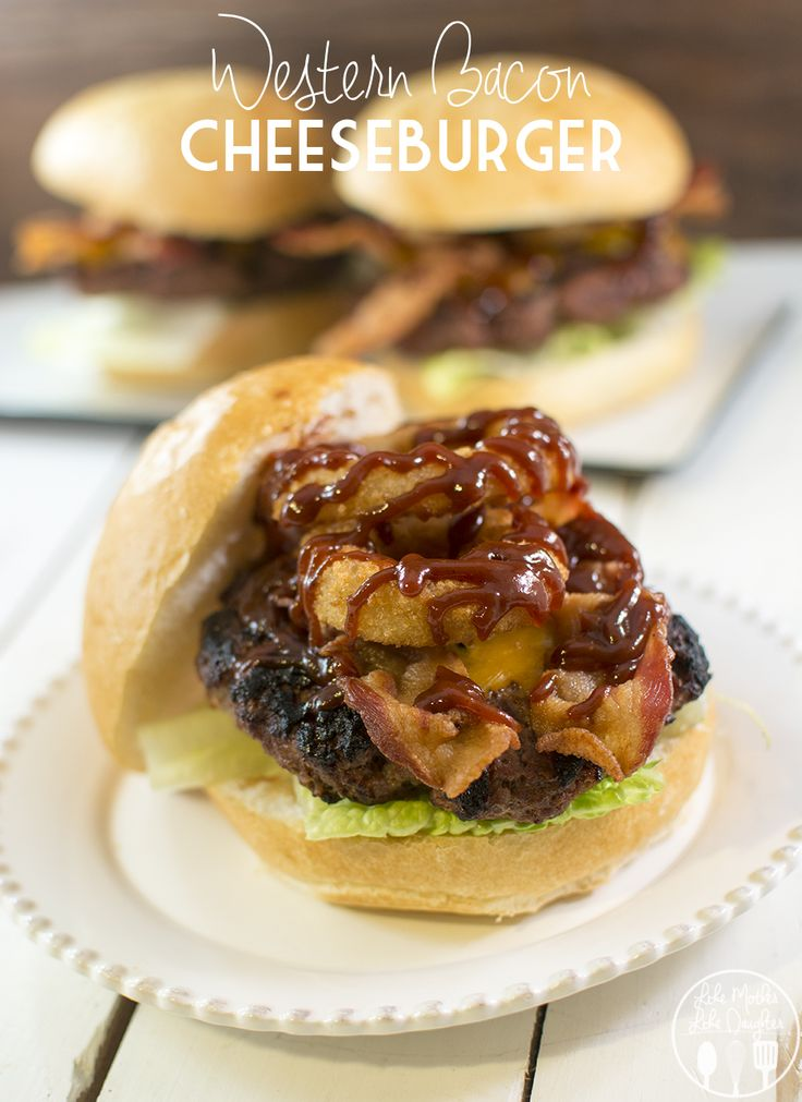 Western Bacon Cheeseburger - This thick and delicious juicy burger is perfect when topped with cheddar cheese, crispy bacon, onion rings and Kraft Hickory Smoke Barbecue Sauce! Its better than anything you'd get at a burger joint or fast food restaurant. #sponsored #evergriller