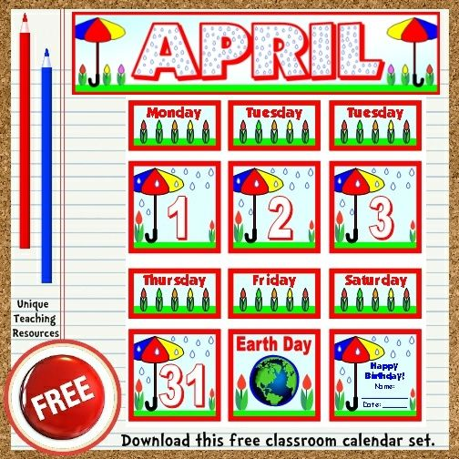 Classroom Calendar Printable : Free printable april classroom calendar for school