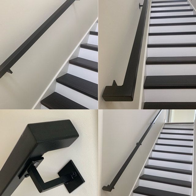 Modern 2x2 Custom Wrought Iron Hand Rail Ada Compliant Return End Wall Mount Handrail Stair Step Railing Made To Order Made In The Usa Handrail Wall Mounted Handrail Wrought Iron Handrail