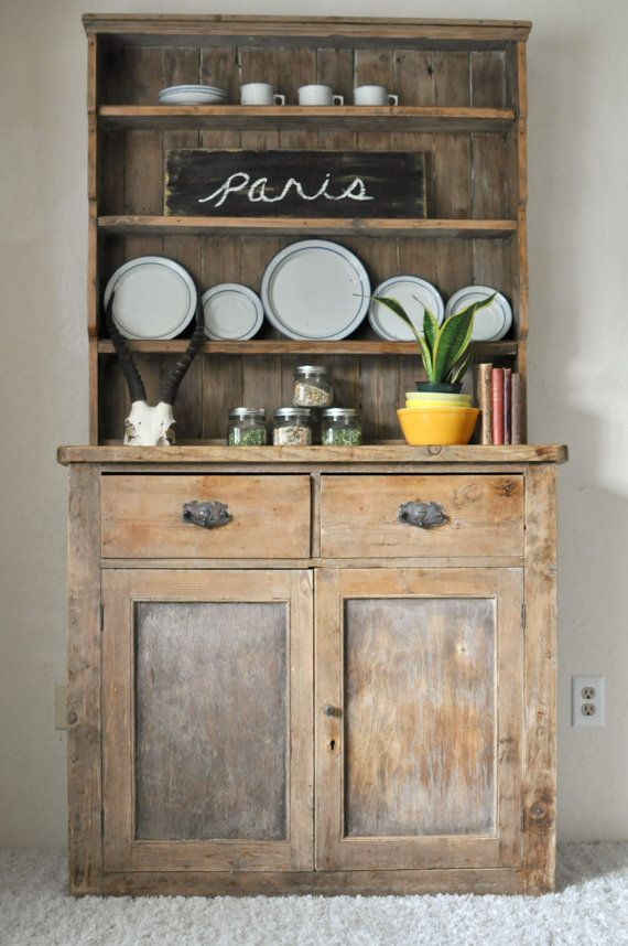 SOLD * Vintage 1930's Oregon Cabin Primitive Cupboard/Rustic Farmhouse Canned Goods Hutch/Antique Pine Sideboard Buffet Cabinet