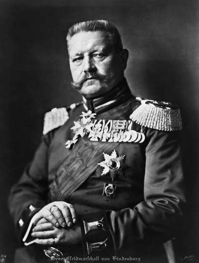 April 10,   1932: PAUL VON HINDENBURG RE-ELECTED AS GERMANY'S PRESIDENT  -    German President Paul Von Hindenburg is re-elected in a runoff, with Adolf Hitler coming in second.