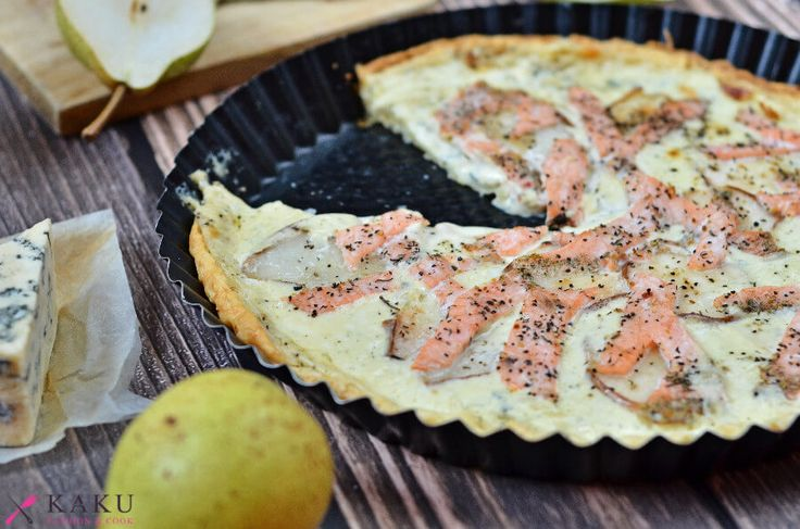 Tarta wytrawna z gruszkami lososiem i serem plesniowym KAKU fashion cook / tart with pears, salmon and blue cheese