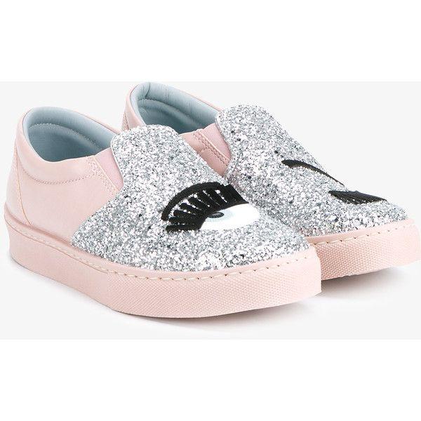Chiara Ferragni Flirting Glitter Embellished Slip-On Sneakers (998460 PYG) ❤ liked on Polyvore featuring shoes, sneakers, floral sneakers, low top, slip-on shoes, floral print sneakers and leather sneakers