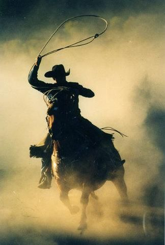 Cowboy. Ropin in the dust