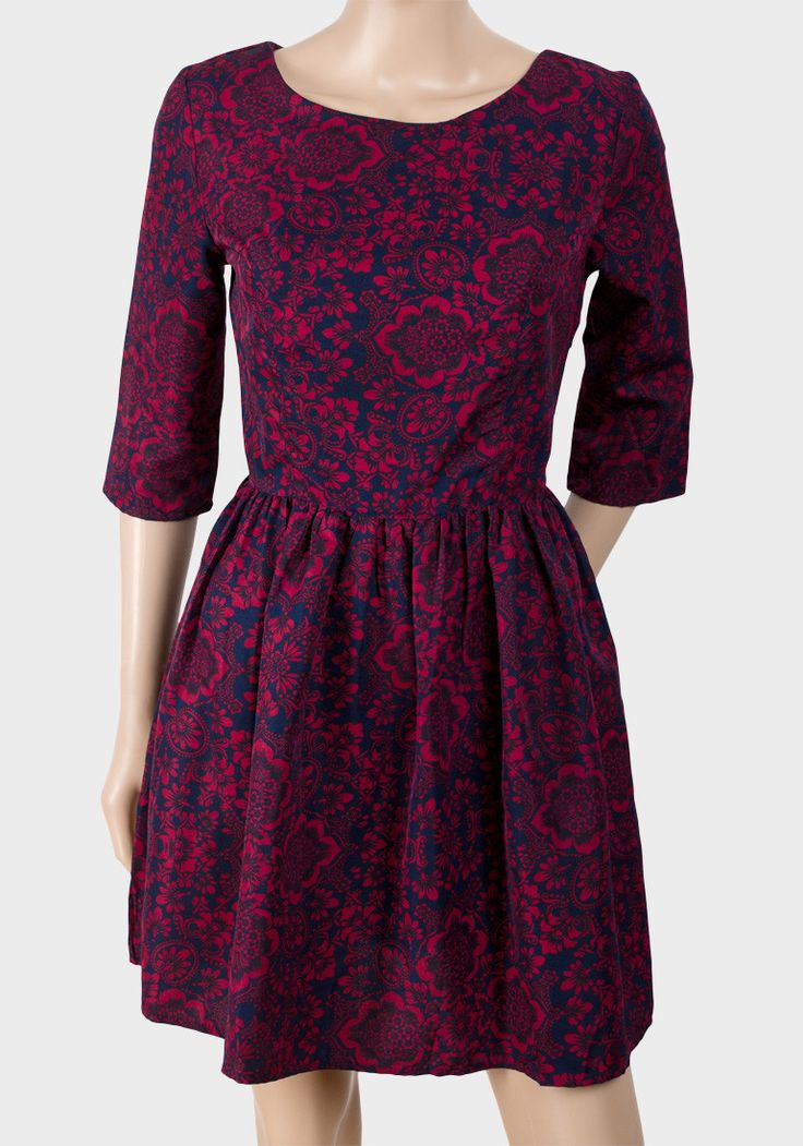 Burgundy Floral Print Skater Casual Dress  #holidayoutfits #shoppingonline #christmasoutfit #christmasoutfits #clothes #flowergirldress #instagram #fashion #shoppingday #canada