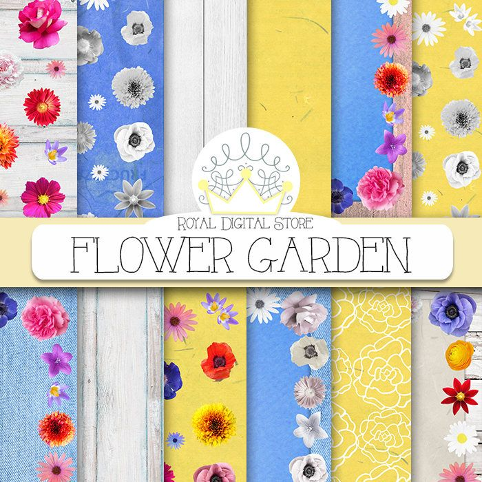 "Flower digital paper: ""FLOWER GARDEN"" with colorful flowers, floral digital paper, flower scrapbook paper, floral background for planners #summerdigitalkit #floral #digitalpaper #shabbychic #woodtexture #scrapbookpaper #blue #yellow #planner"